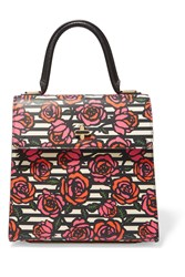 Charlotte Olympia Bogart Floral Print Textured Leather Tote Pink
