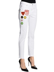 Dsquared Cool Girl Scout Patches Denim Jeans White