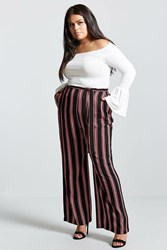 Forever 21 Plus Size Stripe Palazzo Pants Black Red