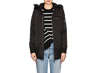 Members Only Faux Fur Lined Elongated Bomber Jacket Black