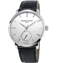 Frederique Constant Fc710s4s6 Slimline Stainless Steel And Alligator Leather Watch White