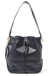 Zac Posen Leather Shoulder Bag Midnight Blue