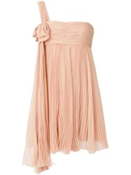 Dsquared2 Pleated Chiffon Diana Dress Women Silk 38 Nude Neutrals