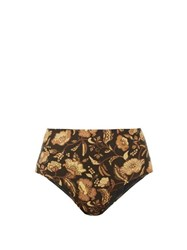 Matteau The High Waist Floral Print Bikini Briefs Yellow Print