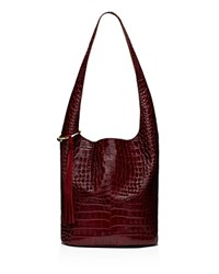 Elizabeth And James Finley Courier Croc Embossed Leather Hobo Oxblood Gold