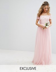 Maya Bardot Maxi Dress With Delicate Sequin And Tulle Skirt Pink