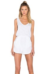 Bobi V Neck Sleeveless Romper White