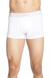 Naked Men's Essential 2 Pack Stretch Cotton Trunks White