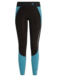 Adidas By Stella Mccartney Contrast Panelled Performance Leggings Black Blue