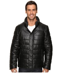 Dockers Fly Front Quilted Puffer W Sherpa Lined Collar Black Men's Coat