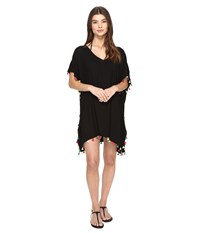 San Diego Hat Company Bst1701 Tunic W Multicolor Tassels Black Women's Clothing
