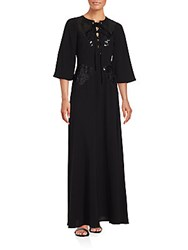 Bcbgmaxazria Sequined Lace Up Front Gown Black