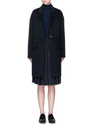 Ms Min Notched Lapel Wool Coat Black