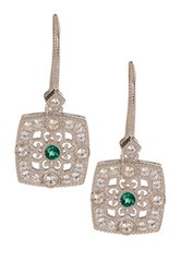 Judith Ripka Sterling Silver White Sapphire And Green Quartz Filigree Square Drop Earrings