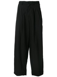 Yohji Yamamoto Loose Fit Trousers Cotton Black