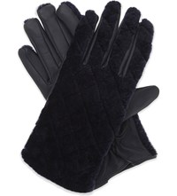 Sandro Gabia Leather And Wool Gloves Bleu Nuit