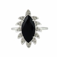 Meghna Jewels Claw Marquise Black Onyx And Diamonds Ring Black Silver
