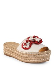 Prada Floral Embroidered Leather Espadrille Slides White Red