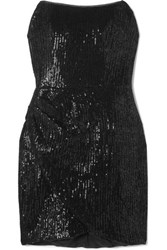 Haney Olivia Strapless Sequined Jersey Mini Dress Black