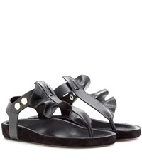 Isabel Marant Leakey Leather And Suede Sandals Black