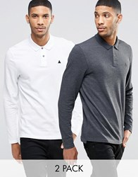 Asos Long Sleeve Pique Polo With Logo 2 Pack Save 16 Charcoal White Multi