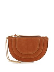 Diane Von Furstenberg Bullseye Nubuck Leather Clutch Tan