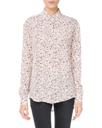 Saint Laurent Floral Print Button Down Blouse White Pattern