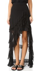 Alice Olivia Lavera Asymmetrical Layered Ruffle Skirt Black