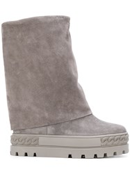 Casadei Concealed Platform Boots Women Nappa Leather Calf Suede Rubber 35 Grey