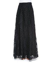 Milly Maze Patterned Fil Coupe Ball Skirt Black