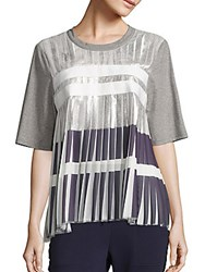 Public School Ezra Metallic Pleated Top White Grey