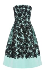 Oscar De La Renta Silk Turquoise Cocktail Dress With Floral Applique