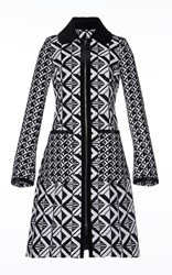 Andrew Gn Embroidered Coat With Velvet Trim Black White