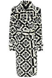 Mary Katrantzou Woman Double Breasted Printed Faux Fur Coat Off White Off White
