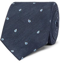 Dunhill 7Cm Paisley Embroidered Herringbone Linen And Mulberry Silk Blend Tie Navy