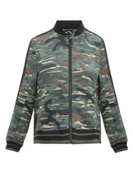 The Upside Army Camouflage Print Linen Blend Jacket Green Print