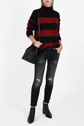 R 13 R13 Women S Nancy Stripe Sweater Boutique1 Blk Red