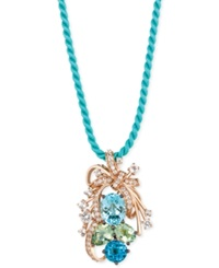 Le Vian Blue Topaz Green Quartz And White Topaz Cluster Pendant Necklace In 14K Rose Gold 10 1 5 Ct. T.W.