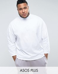 Asos Plus Oversized T Shirt With High Neck And Cropped Arm White