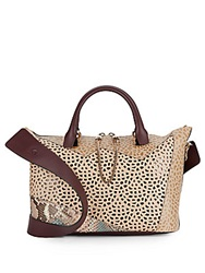 Chloe Leather And Python Perforated Patchwork Top Handle Bag Cement Multi