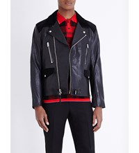 Coach Moto Plaid Panel Leather Jacket Red Plaid
