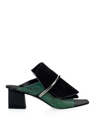 Proenza Schouler Fringe Suede And Python Mules
