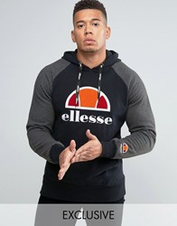 Ellesse Raglan Hoodie With Large Logo Black