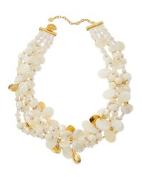 Chunky Mother Of Pearl And Crystal Multi Strand Necklace Gold Jose And Maria Barrera