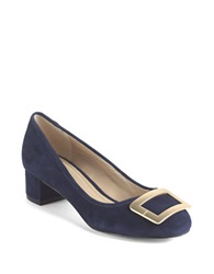 Lord And Taylor Felonise Suede Chunky Heel Pumps Navy