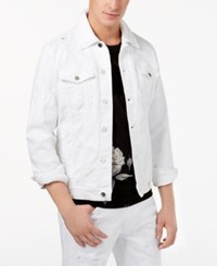 Guess Men's Rex Destroyed Denim Jacket Shattered Wash White W Destroy