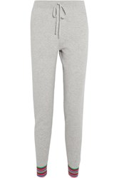 Chinti And Parker Stripe Cuff Cashmere Track Pants Light Gray