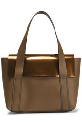 Brunello Cucinelli Paneled Mirrored And Smooth Leather Shoulder Bag Light Brown