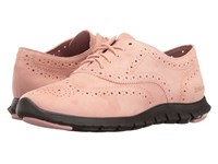 Cole Haan Zerogrand Wing Oxford Open Hole Silver Pink Open Hole Suede Pavement Women's Lace Up Casual Shoes