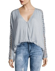 Free People Runaway Crochet Accented Top Sky Blue